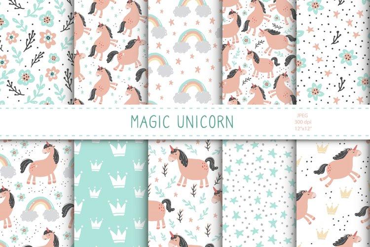Magic Unicorn Digital paper, seamless pattern