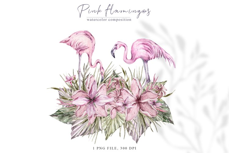 Watercolor pink flamingo clipart Valentines day illustration example