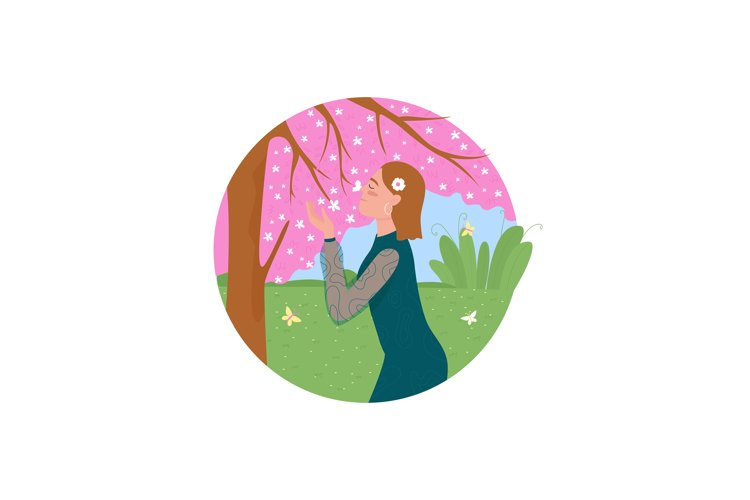 Spring blossom 2D vector web icon example