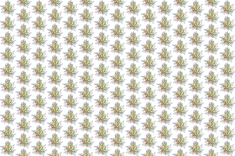 Vector Tropical One Line Art Leaves Pattern Background