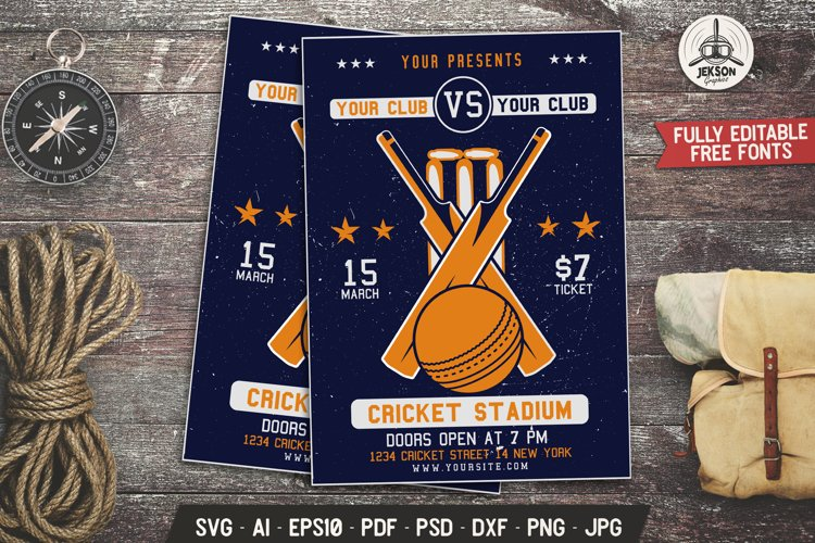 Cricket SVG Card Sports Event Editable Flyer Template DXF example image 1