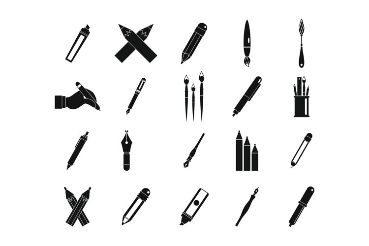 Pen, pencil icon set, simple style example image 1