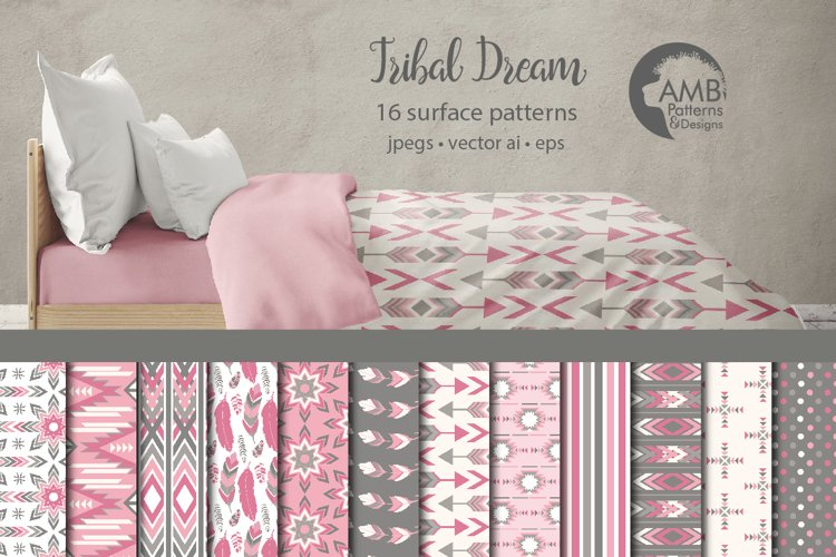 Tribal Dream Surface Patterns, Pink Boho Papers, AMB-1551 example image 1