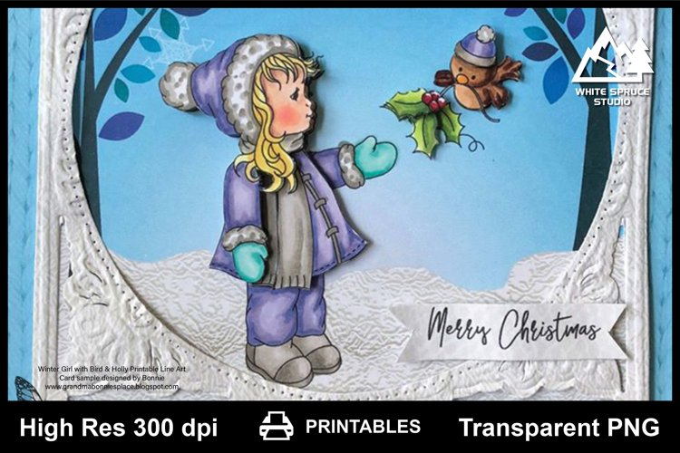 Winter Girl With Bird & Holly Printable Line Art, Colouring