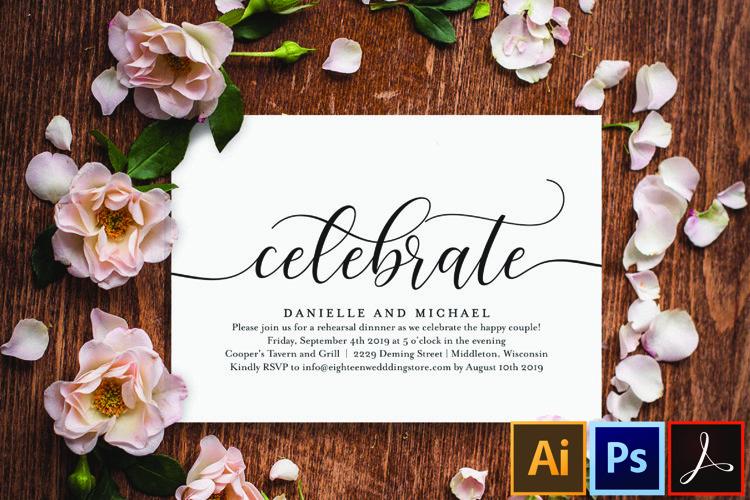 Celebrate Party Invitation, Wedding Rehearsal Invitation example image 1