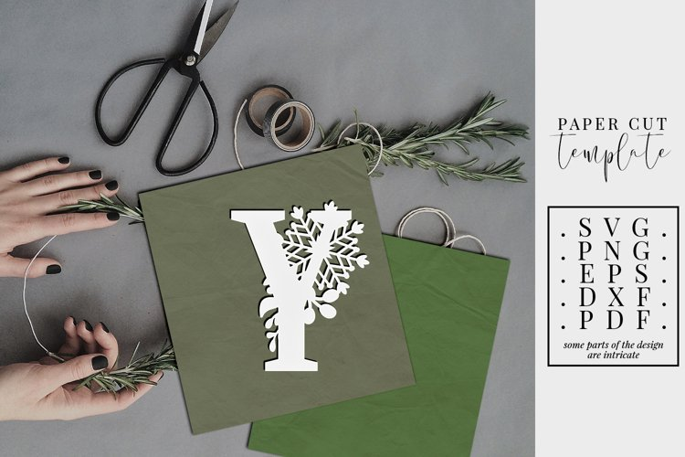 Winter letter Y, single initial paper cut, snowflakes SVG example image 1