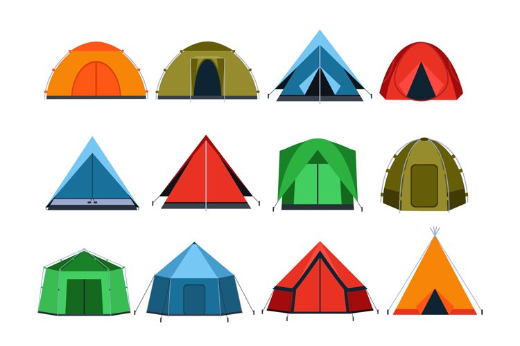 Different tourists tents for camping. Vector pictures in fla example image 1