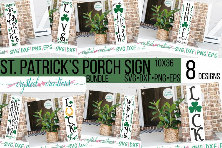 St. Patrick's Day Porch Sign 10x36 Bundle SVG, DXF, PNG, EPS example image 1