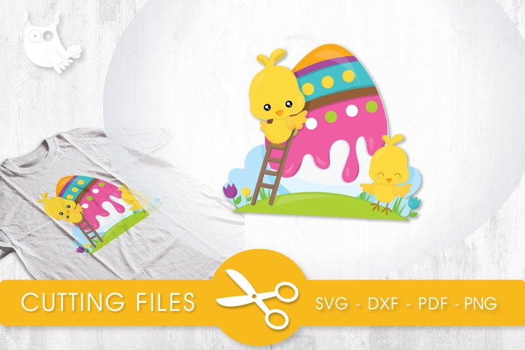 Easter Egg Chicks cutting files svg, dxf, pdf, eps included - cut files for cricut and silhouette - Cutting Files SVG example image 1