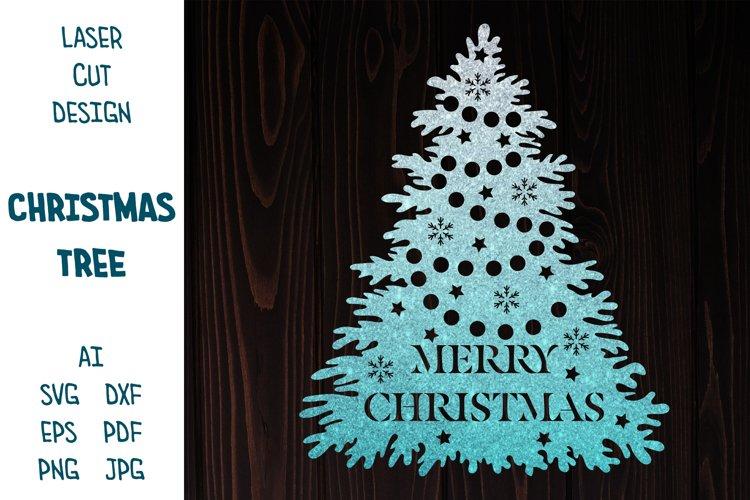 Christmas tree with Merry Christmas sign. Christmas SVG. example image 1