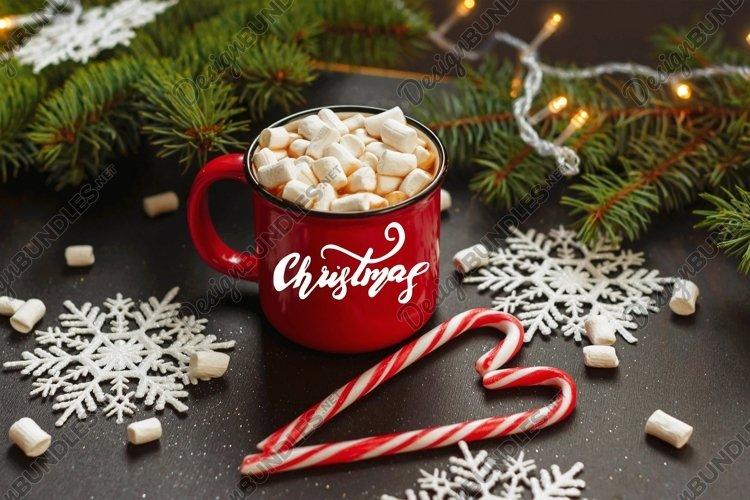 Lettering Christmas. Red mug.