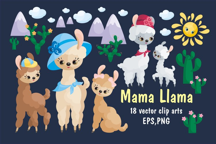 Mama Llama. Vector clip arts for Mothers Day.