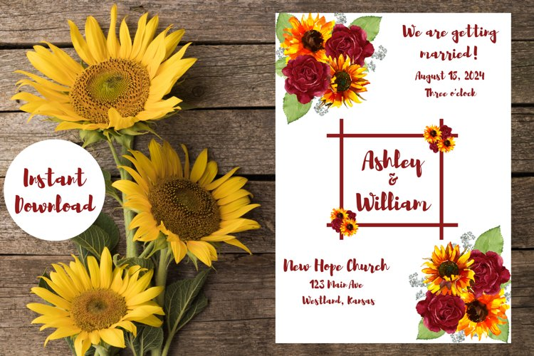 Sunflowers and Red Roses Wedding Invitation example image 1