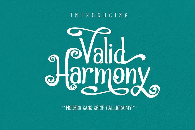 Valid Harmony || modern sans serif calligraphy example image 1