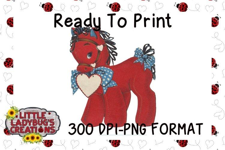 Vintage Valentine Horse 300DPI PNG Printable Digital Design