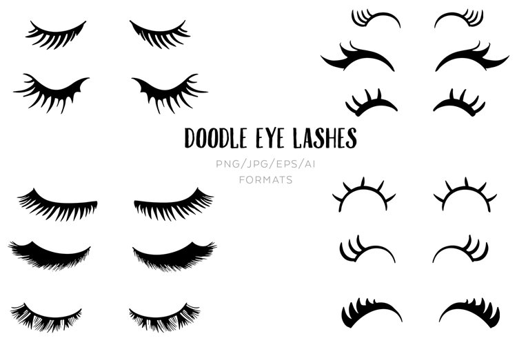 Doodle Eye lashes Clipart
