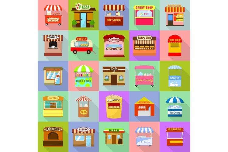 Street food kiosk icons set, flat style example image 1