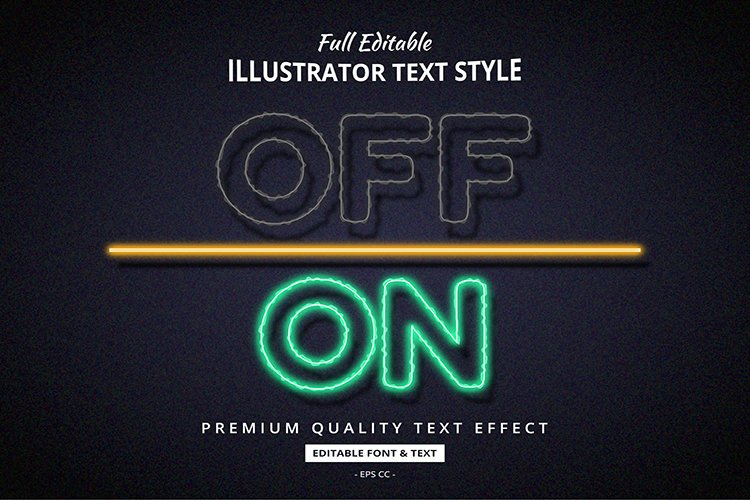 Neon Electricity Off On 3D Illustrator Text Style Effect example image 1