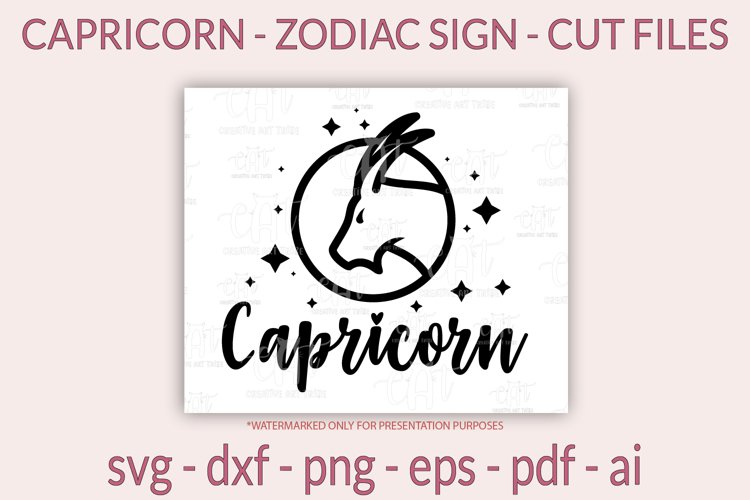 Capricorn SVG - Zodiac sign SVG, Horoscope sign SVG cut file