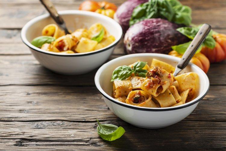 Italian type of pasta calamarata with vegetarian sauce example image 1