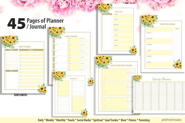 Sunflower Planner 45 Pages Complete Set example image 1
