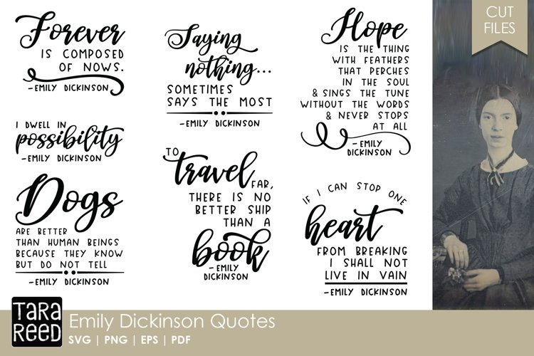 Emily Dickinson Quotes - Quote SVG and Cut Files example image 1
