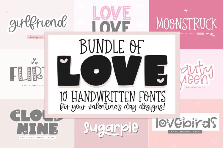 Font Bundle of Love - Valentine's Day Fonts example image 1