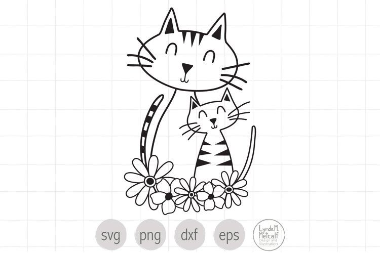 Cat Mom and Kitten SVG, Cats and Flowers svg, Motherhood svg