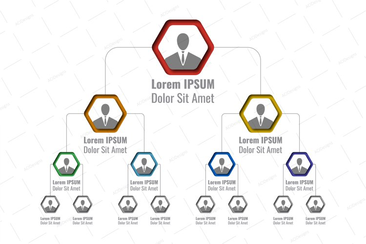 Hierarchy infographic template with hexagonal elements example image 1