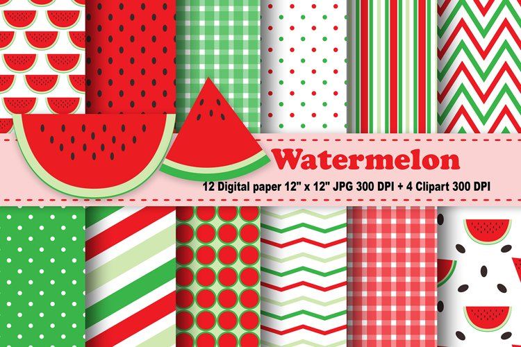Watermelon Digital Paper, Fruits Background. example image 1