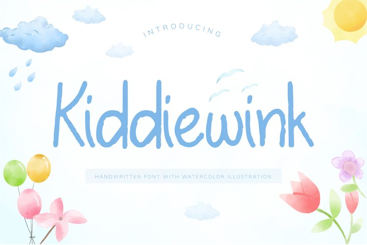 Kiddiewink Handwritten Font with Watercolor Illustration example image 1