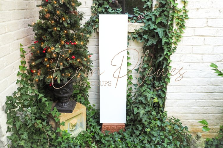 Christmas Porch Sign Mockup   White Vertical Sign Mock-up
