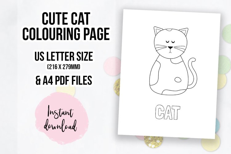 - Cute Cat Coloring Page Colouring Book Page (602514) Coloring Pages  Design Bundles
