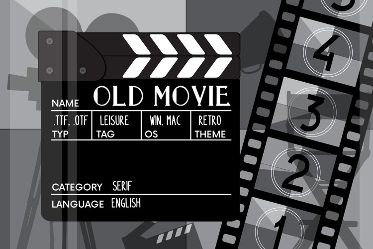 Old movie. Retro serif font example image 1