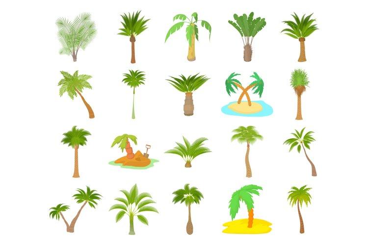 Palm tree icon set, cartoon style example image 1