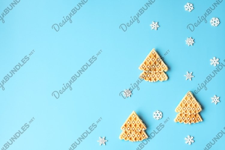 Christmas trees made of Belgian waffles with white beads example image 1
