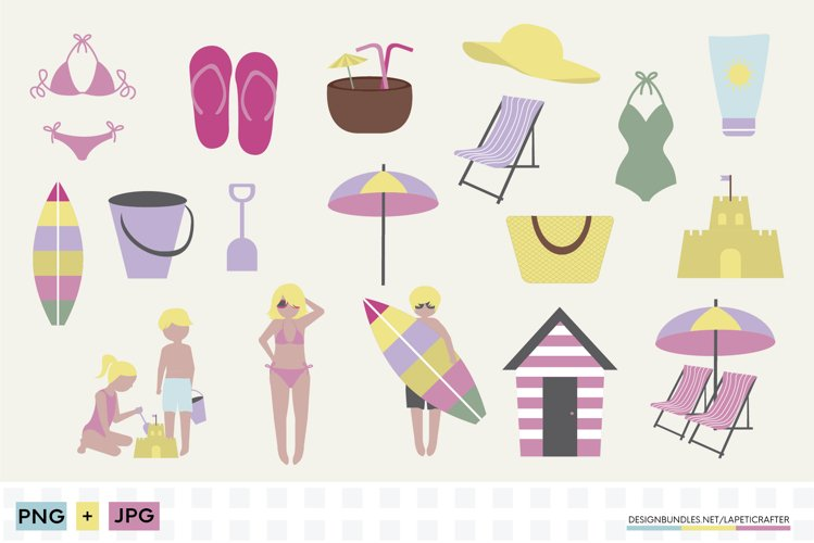 Beach clipart set   Summer vacations at the beach example image 1