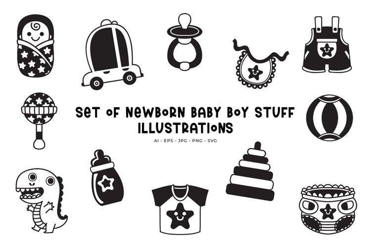 Set of Newborn Baby Boy Stuff illustrations