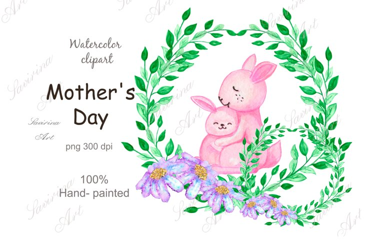 Watercolor clipart Cute pink bunny.Spring flower,Green PNG.