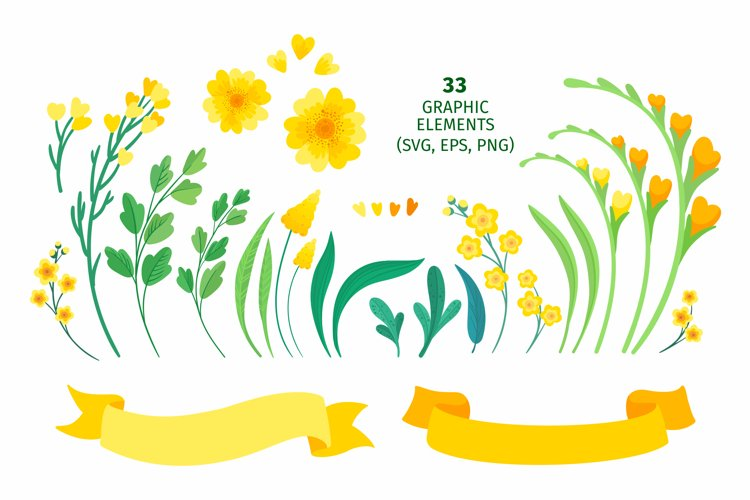 Yellow Flowers Vector Clipart example 1