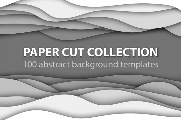 Bundle of 100 paper cut backgrounds example image 1