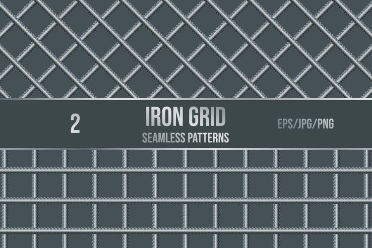 Set of 2 vector seamless pattern of iron grid. example image 1
