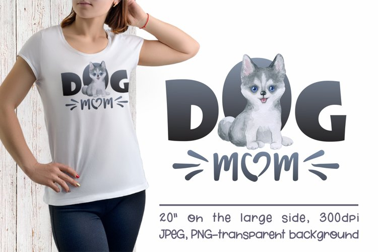 Husky Dog Mom Sublimation Design PNG example image 1