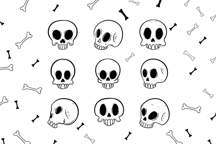 Skull Doodle and Patterns example image 1