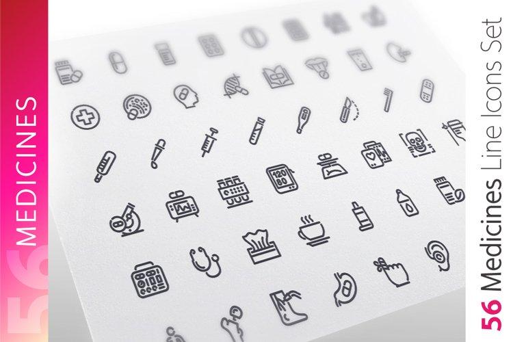 Medicines Line Icons Set example image 1