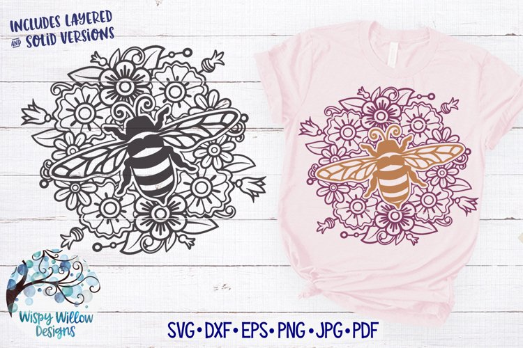Bee Mandala SVG | Bee and Flower Zentangle SVG Cut File