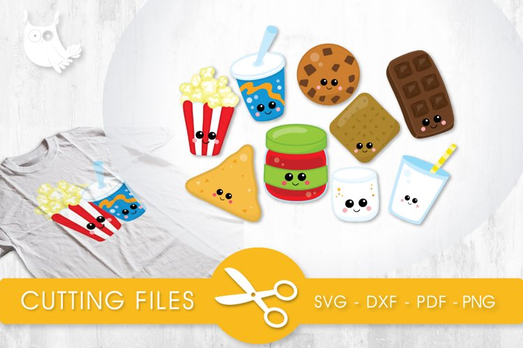 Cutesy Snack Food cutting files svg, dxf, pdf, eps included - cut files for cricut and silhouette - Cutting Files SVG example image 1