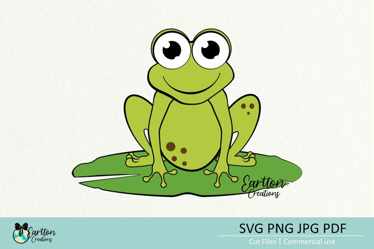 Frog on a Lotus, SVG Cut File Clipart, Cartoon Froggy