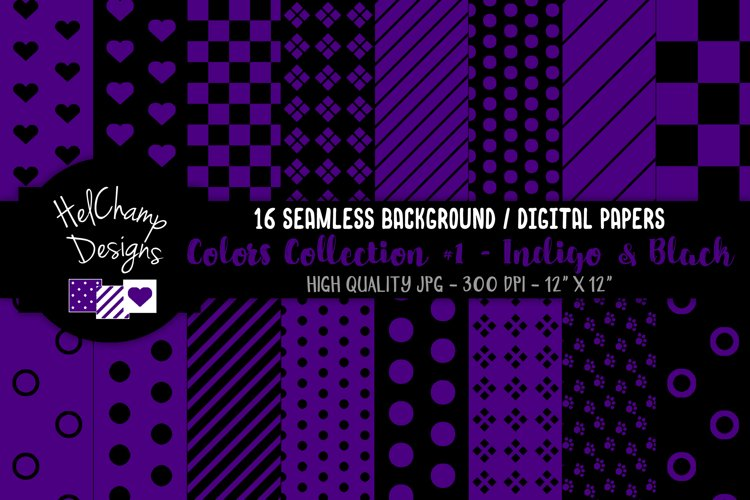 16 seamless Digital Papers - Indigo and Black - HC071 example image 1