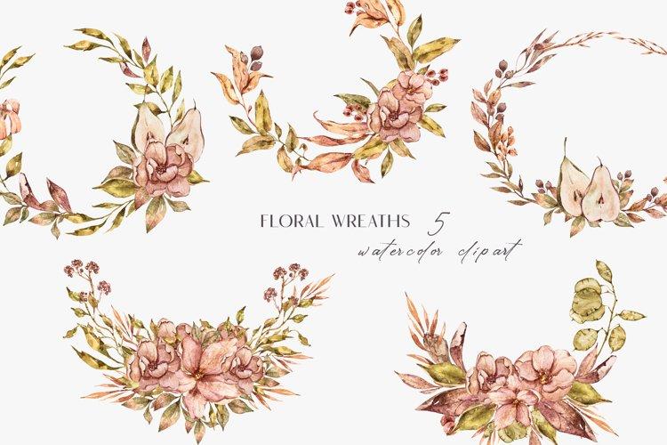 Wedding wreath clipart. Bohemian fall illustrations example image 1